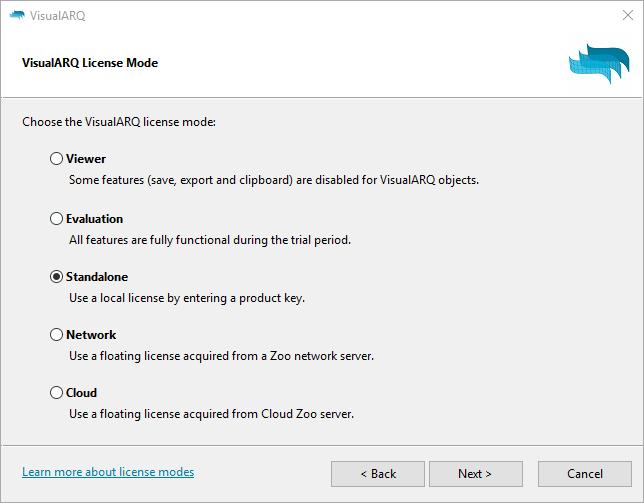 VisualARQ license modes