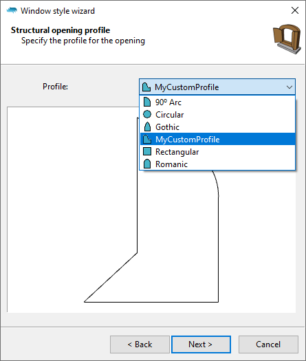The window style wizard in the Structural opening profile step with the dropdown open and a custom profile selected.