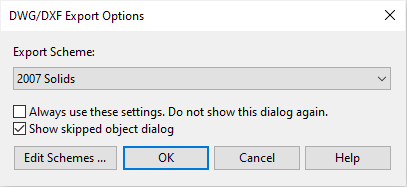 The Rhino dwg dxf export options dialog with the 2007 Solids option selected.
