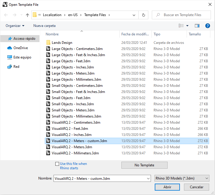 The Rhino Open Template File dialog with the list of Rhino, VisualARQ and custom template files.