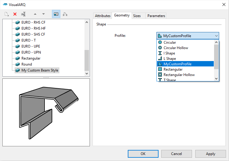 The VisualARQ beam styles dialog with a beam style with custom profile selected.