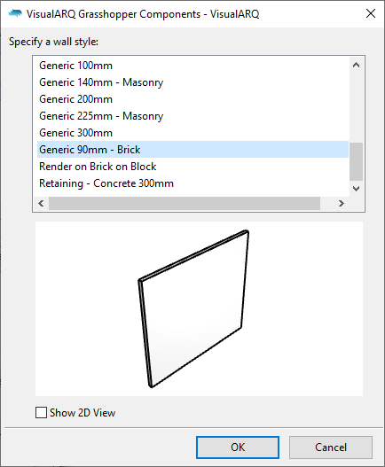 The dialog to select VisualARQ wall styles from Grasshopper.