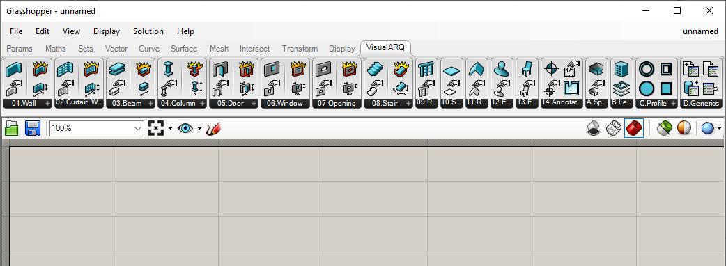 The VisualARQ Grasshopper components tab content.