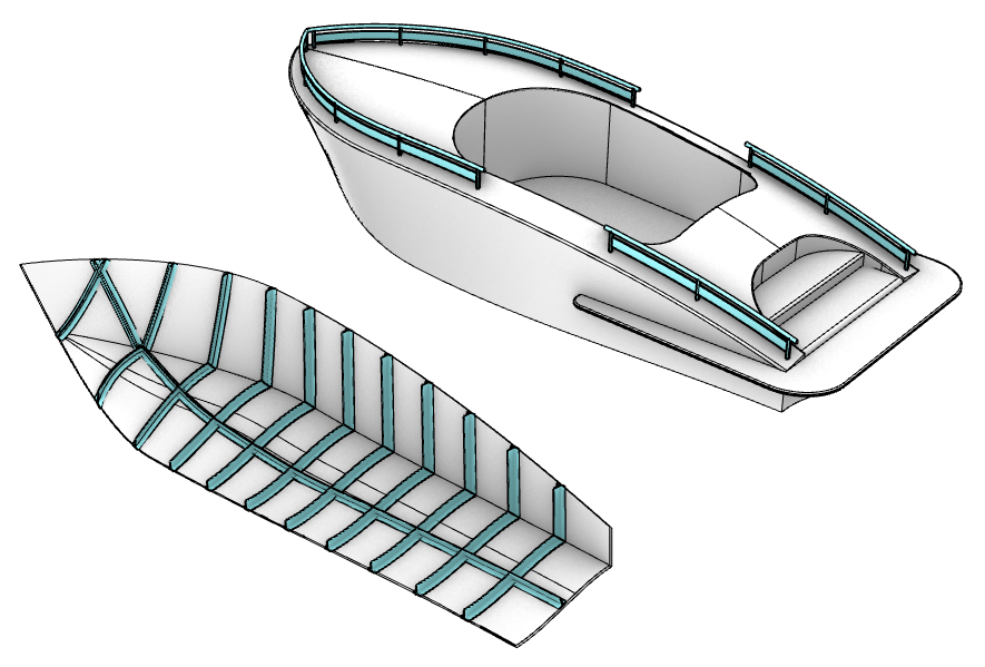A boat 3D model with structure created with VisualARQ.