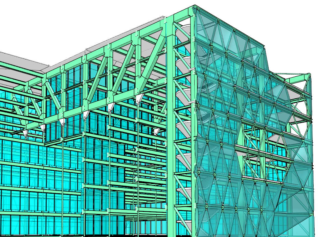 MediaTIC by Enric Ruiz-Geli (Cloud 9) model created with VisualARQ to demonstrate its structural BIM capabilities.