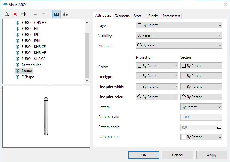 The VisualARQ 2 column styles dialog with a Round column style selected.