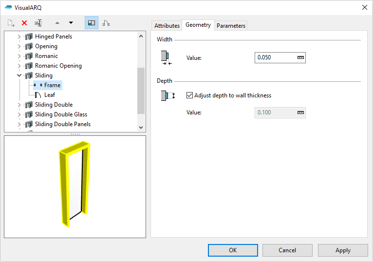 The VisualARQ 2 door styles dialog with a sliding door style selected.