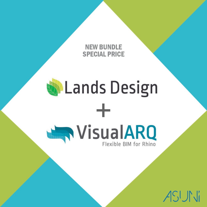 Conceptual image with the Lands Design and VisualARQ logo representing the new bundle.