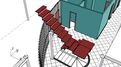 View of a VisualARQ model with a stair