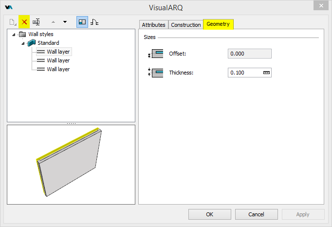 Delete the additional layers for each wall style, and change the thickness of the remaining one so the wall sytle keeps the same total thickness as before